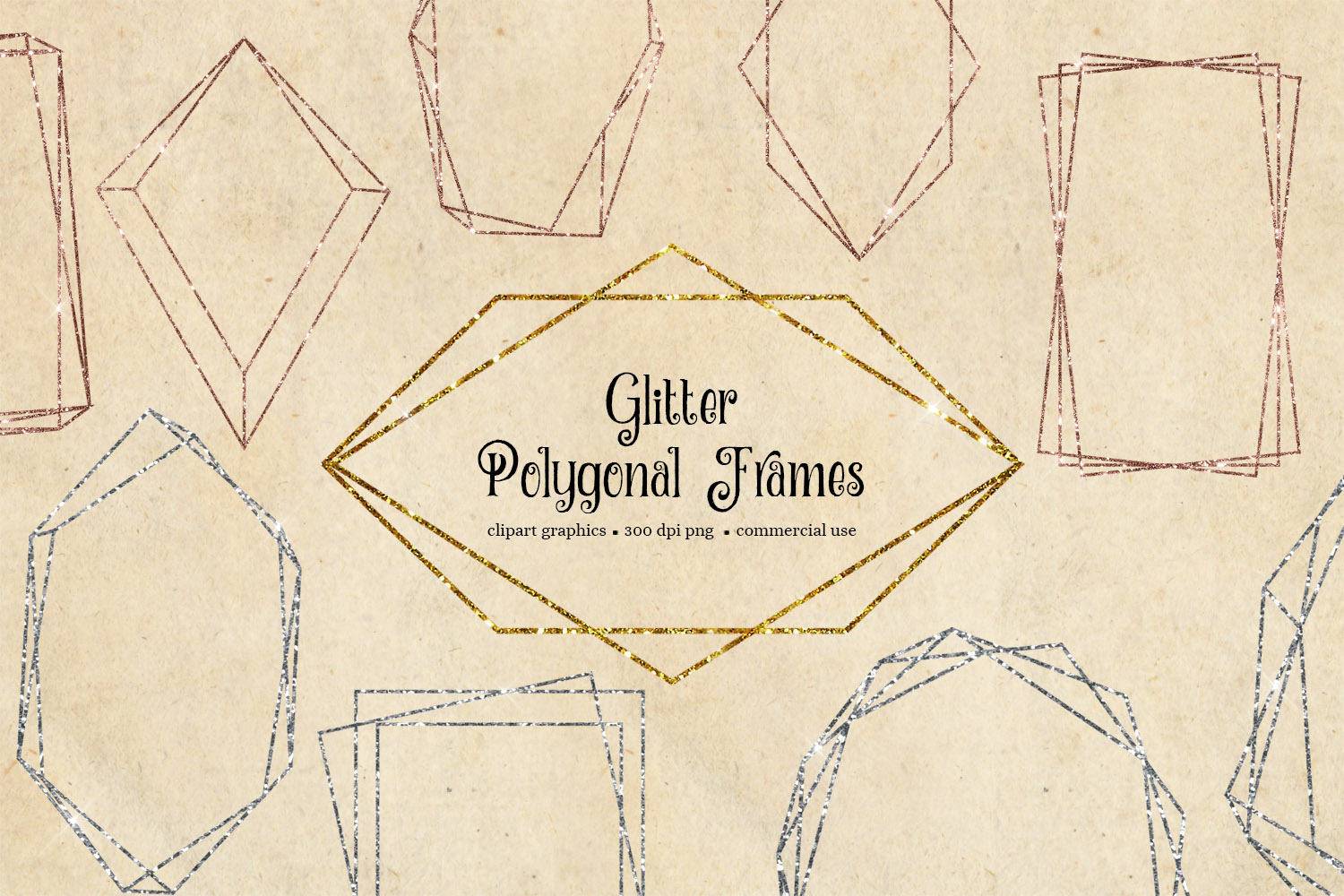 Glitter Polygonal Frames Clipart example image 2