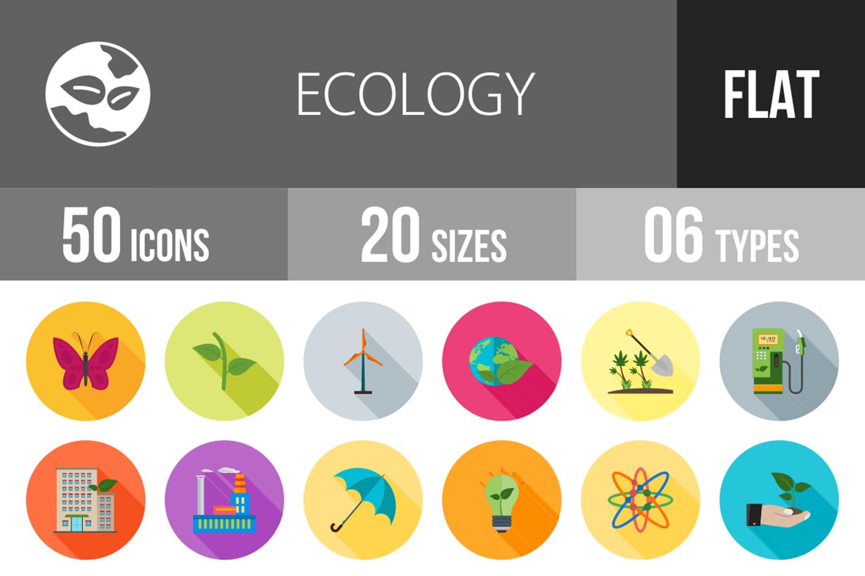 50 Ecology Flat Long Shadow Icons example image 1