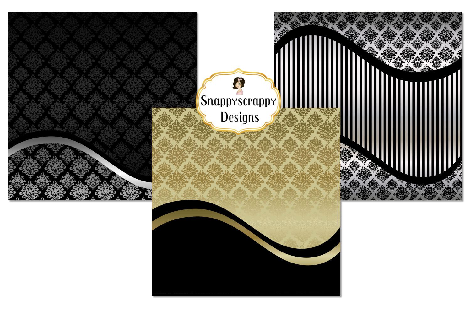 Black and Gold Decorative Background Paper Pack example image 4