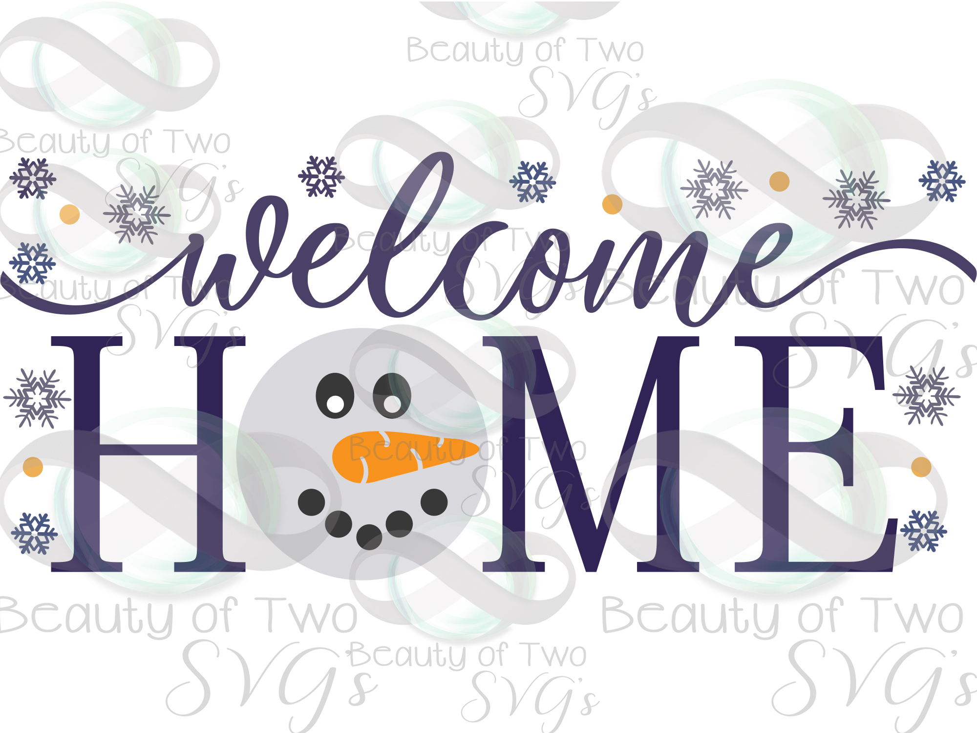 Welcome Home Snowman svg, Snowman Winter svg sign, snowflake example image 3