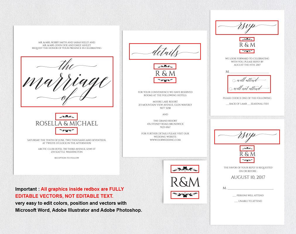 Wedding invitation set portrait, TOS_13 example image 5