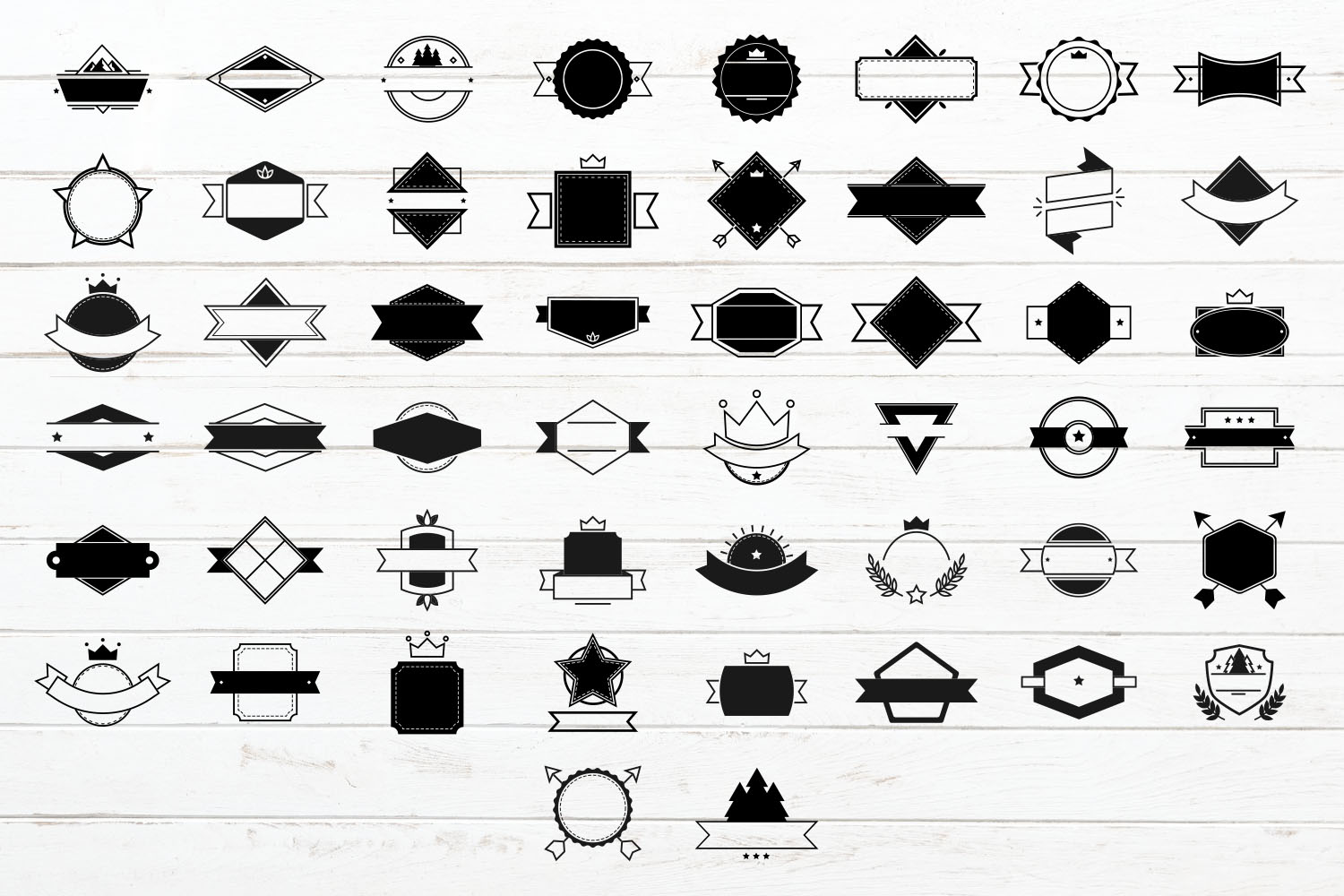 100 Badges and Frames Bundle, Labels/ Logo Kit Vector Icons. example image 3