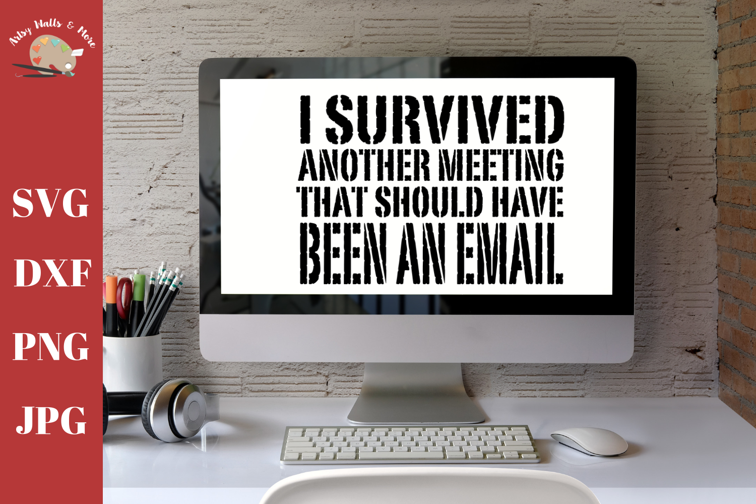 I survived a meeting, funny office, funny coffee cup svg dxf example image 1