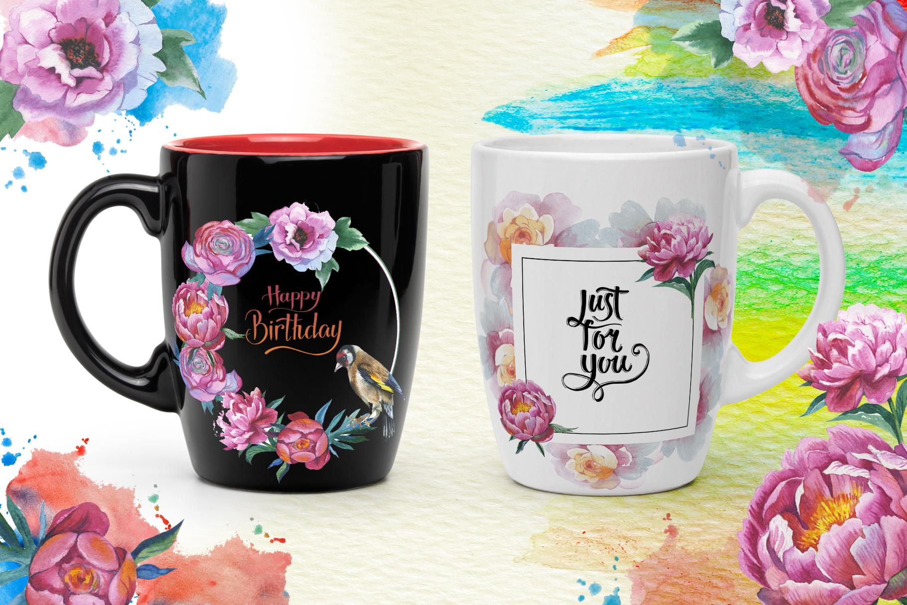 Colorful peonies JPG watercolor flower set  example image 3