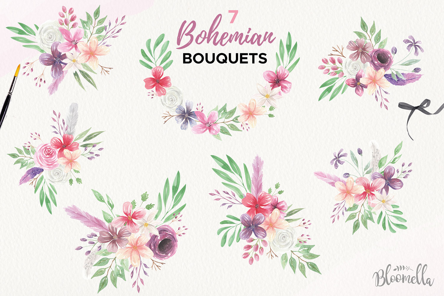 Bohemian Floral Watercolor HUGE Package Wedding Clipart example image 4