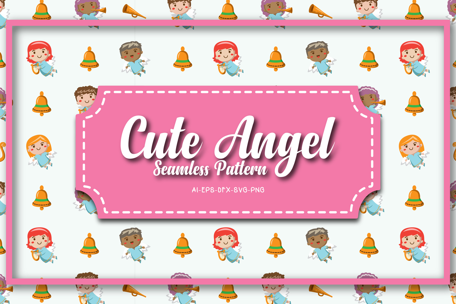 Seamless patterns cute angel christmas example image 1
