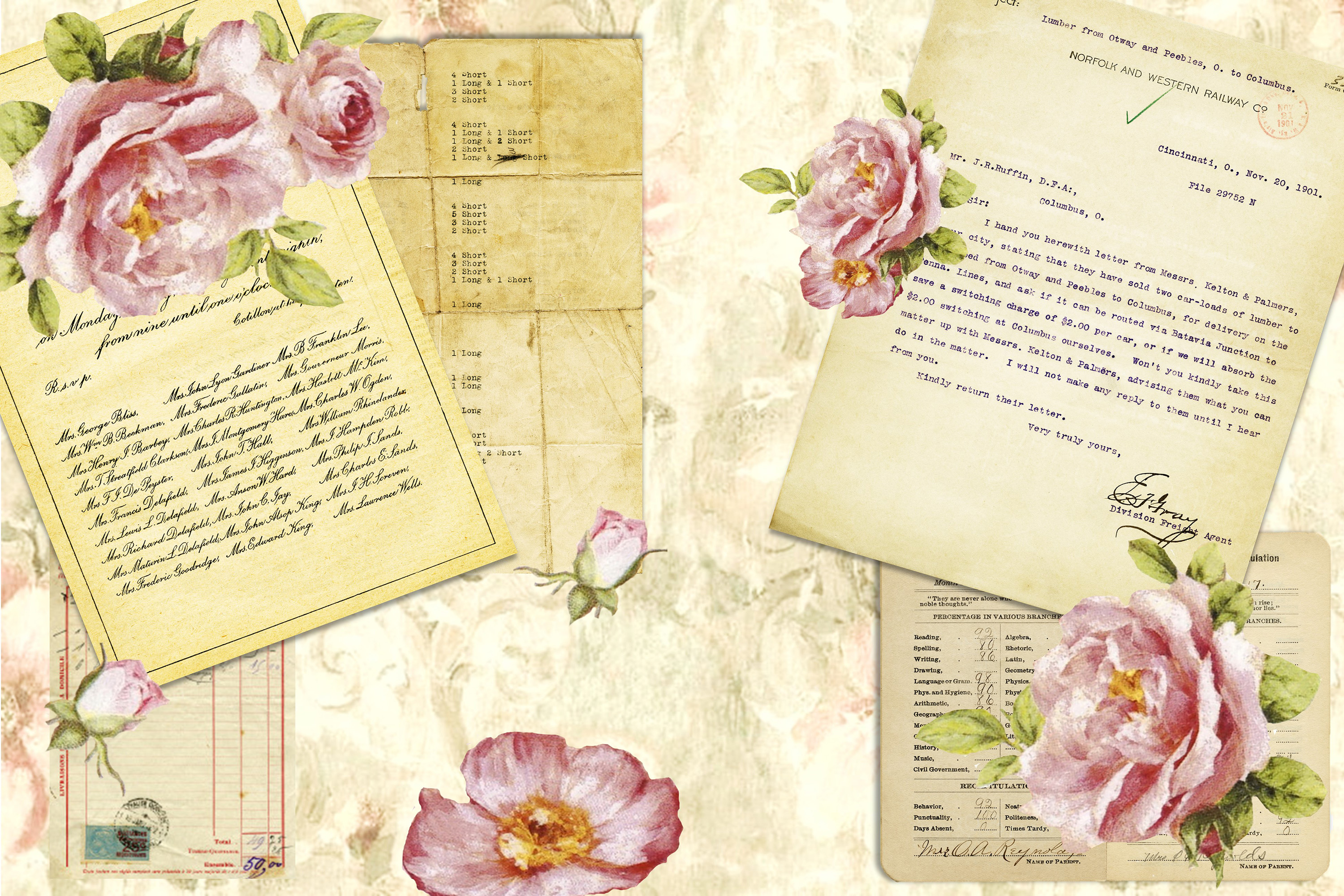 Journaling backgrounds with FREE ephemera PNG and JPEG CU example image 6