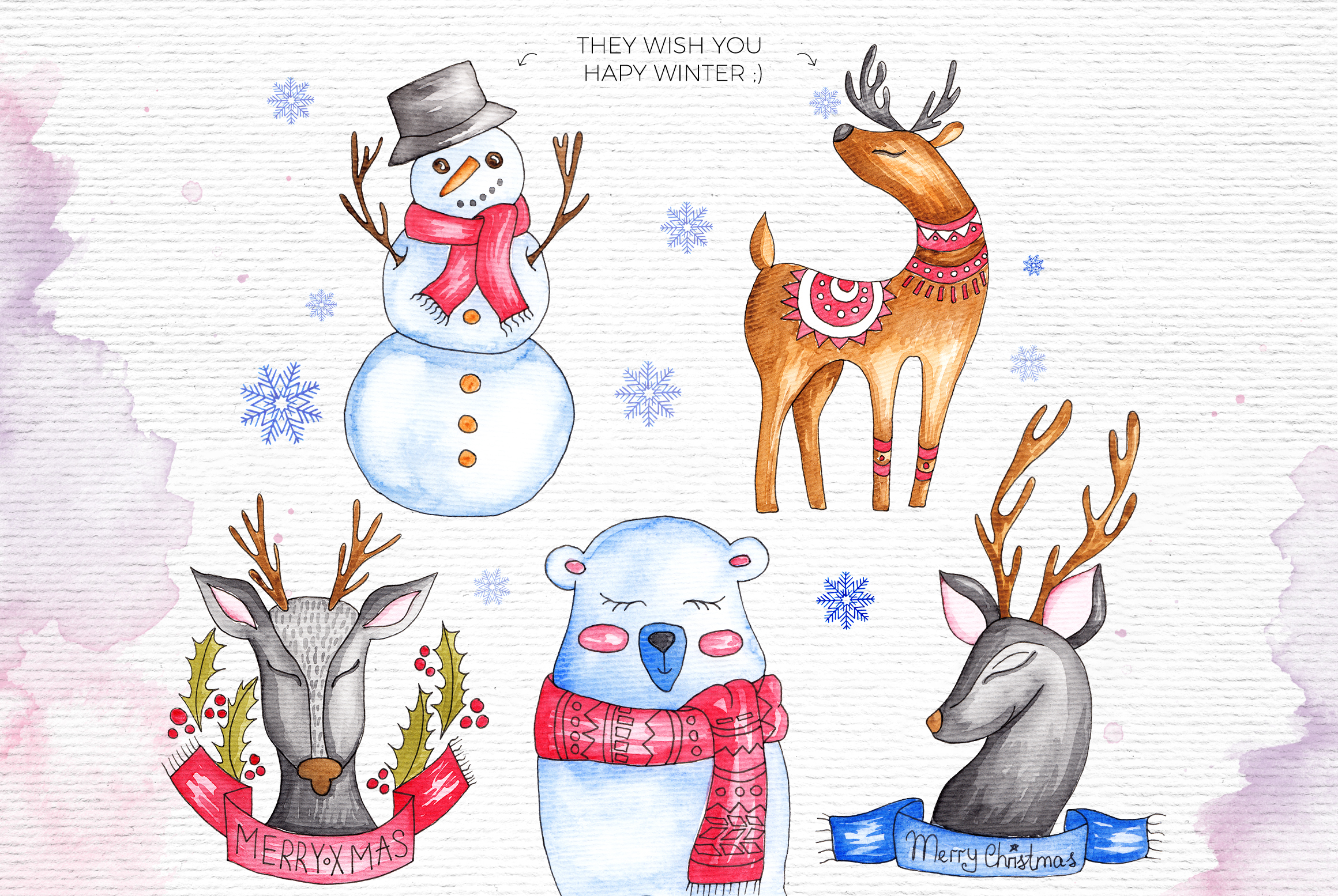 Watercolor Winter Illustrations example image 4