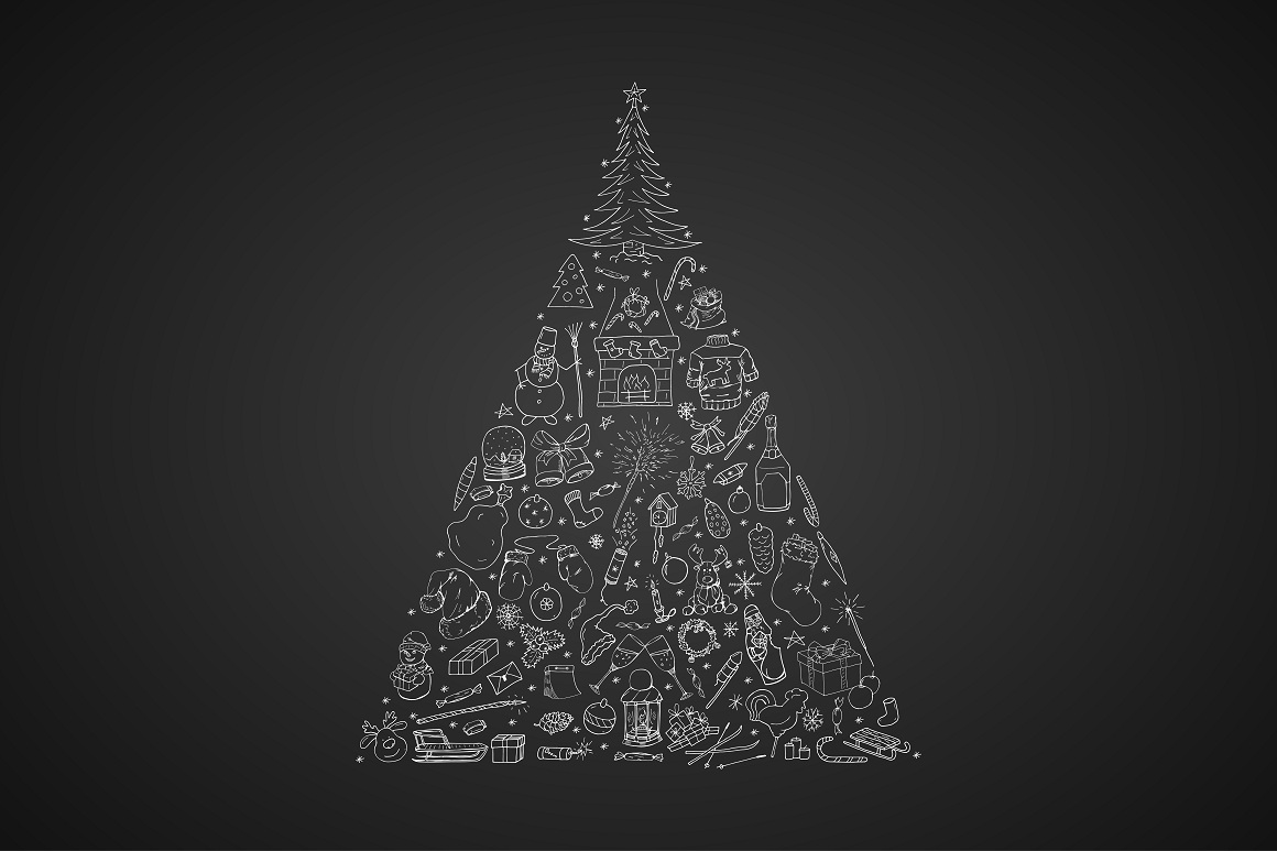 Christmas Tree. Hand drawn elements example image 3
