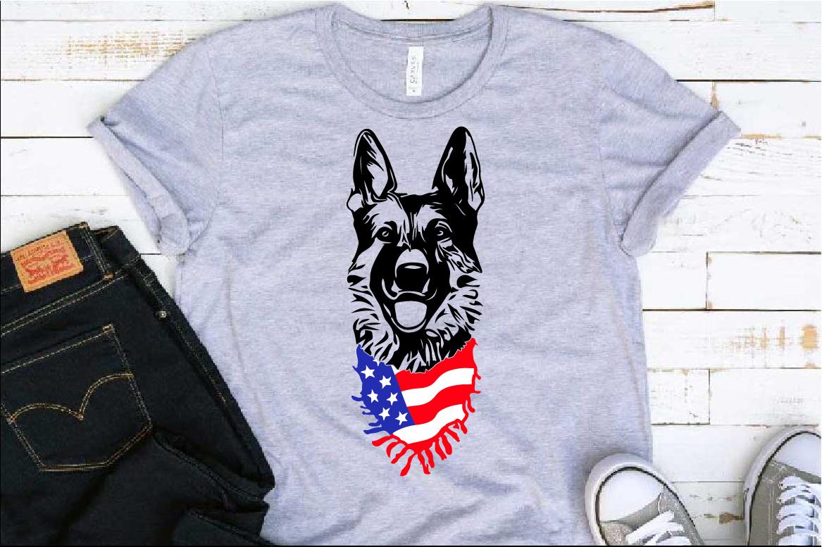 German shepherd dog head whit Scarf US flag SVG 1277s example image 1