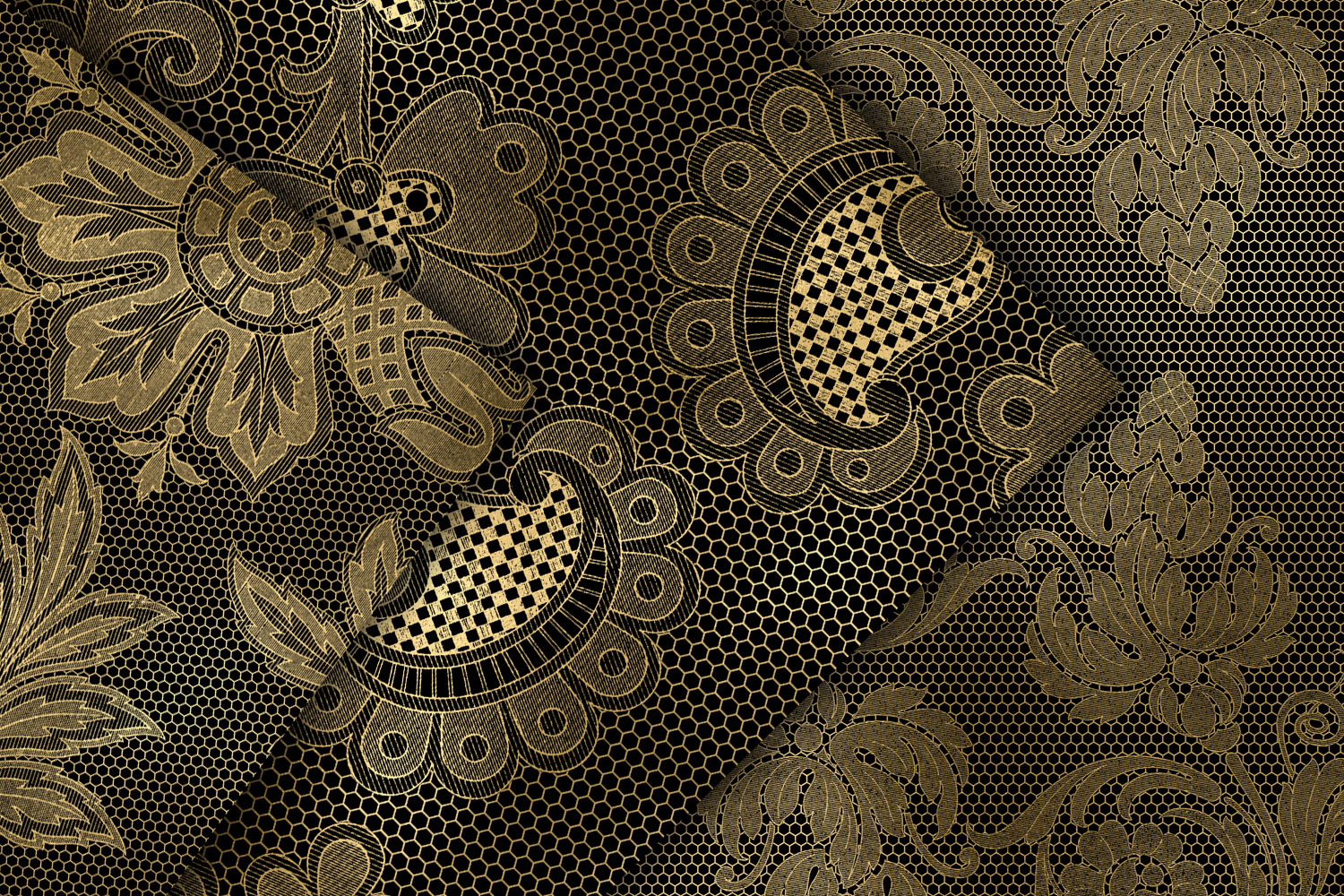Black and Gold Floral Lace Digital Paper example image 3