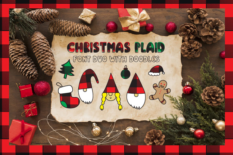 Christmas buffalo plaid font with doodles elements example image 2