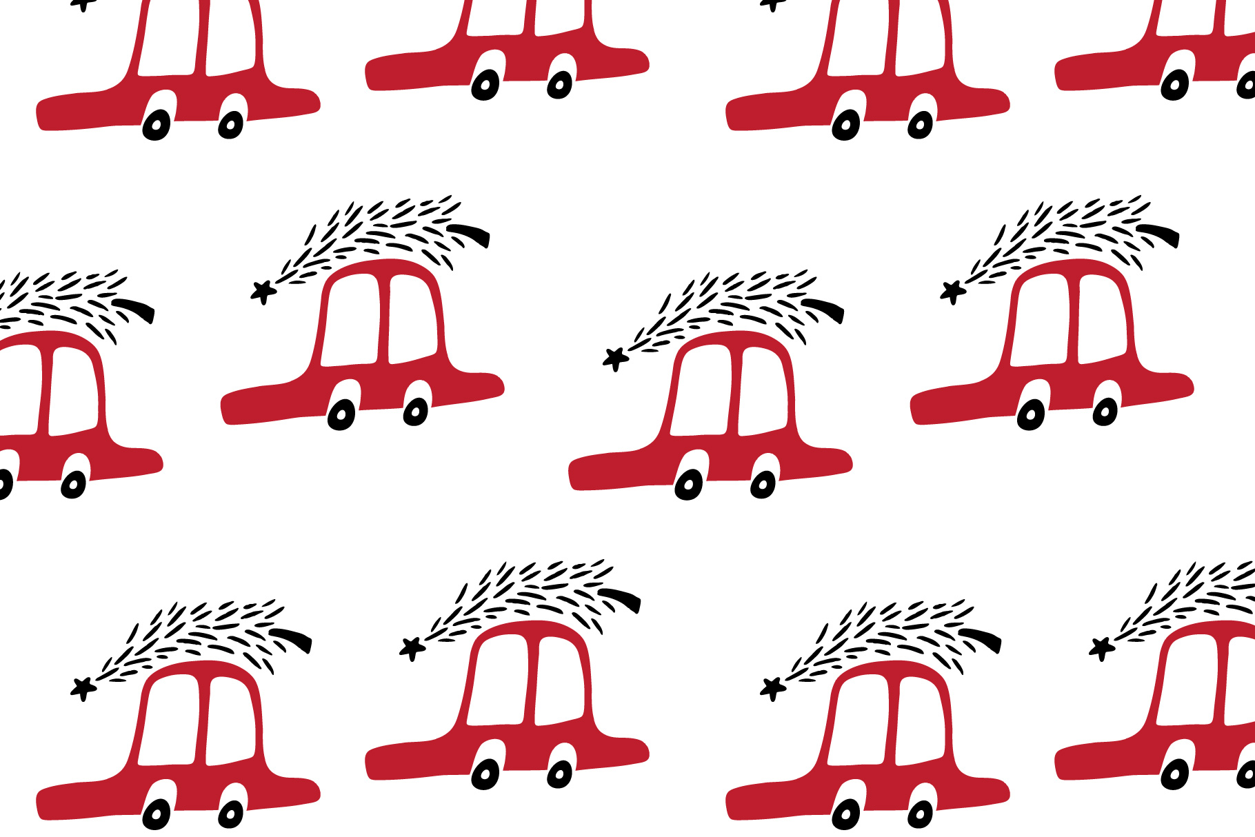Cute cartoon cars pattern. Merry Cristmas pattern. example image 3