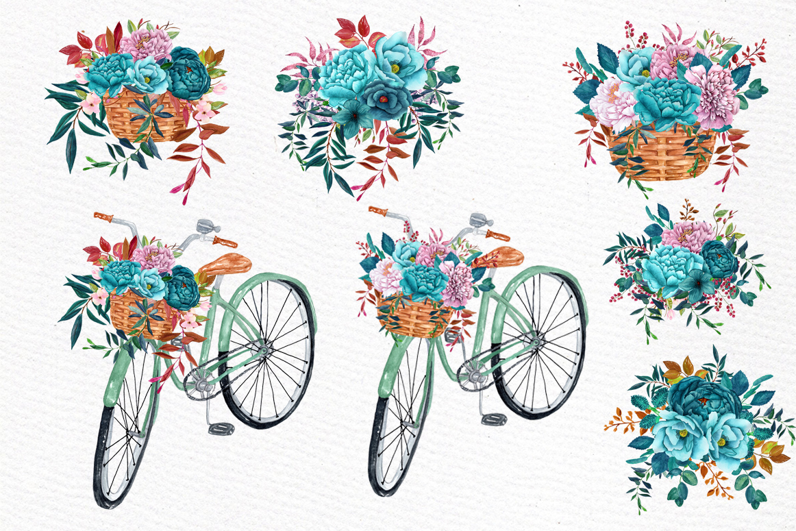 Watercolor floral bicycle clipart example image 3