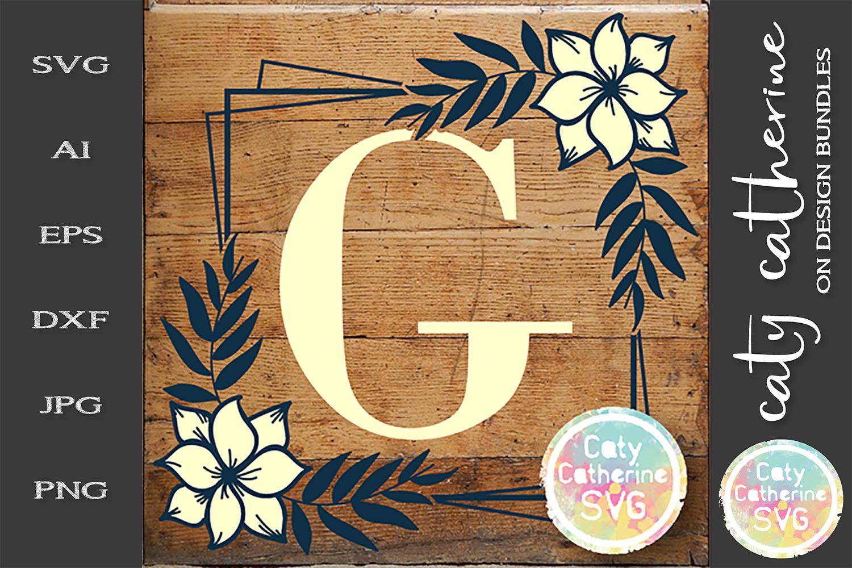 Letter G Floral Monogram Frame SVG Cut File example image 1