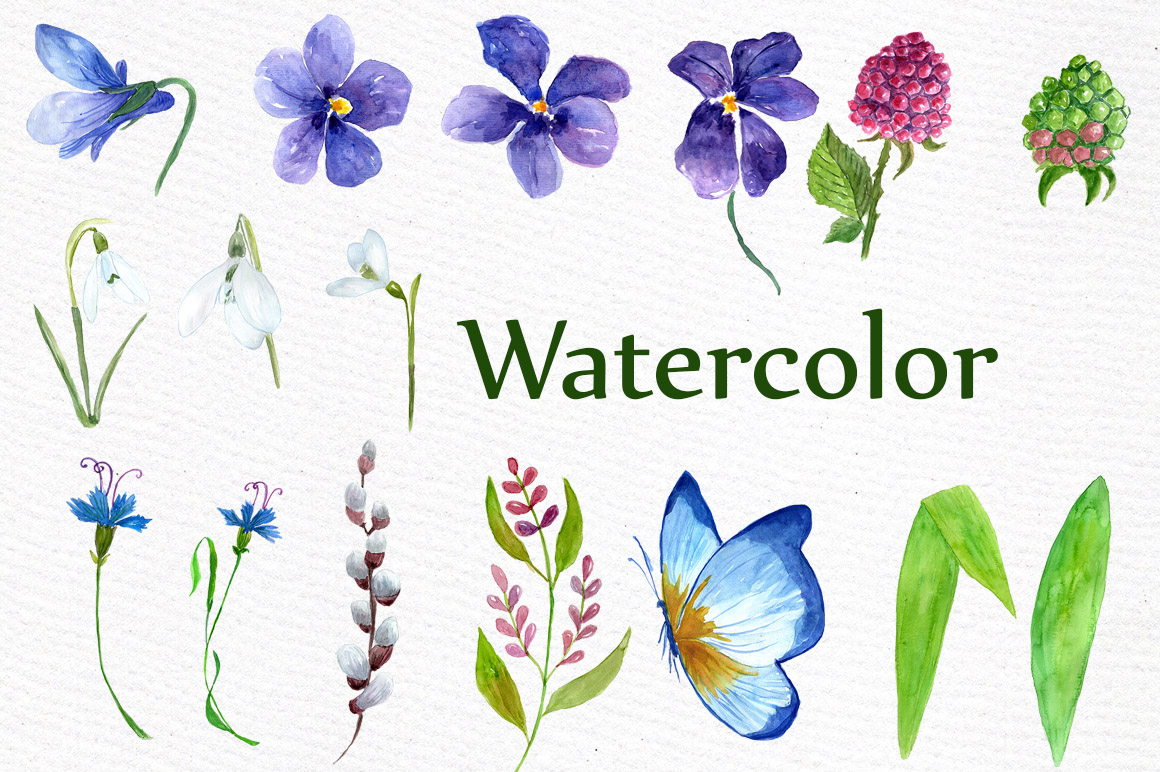 Watercolor wedding flowers clipart example image 3