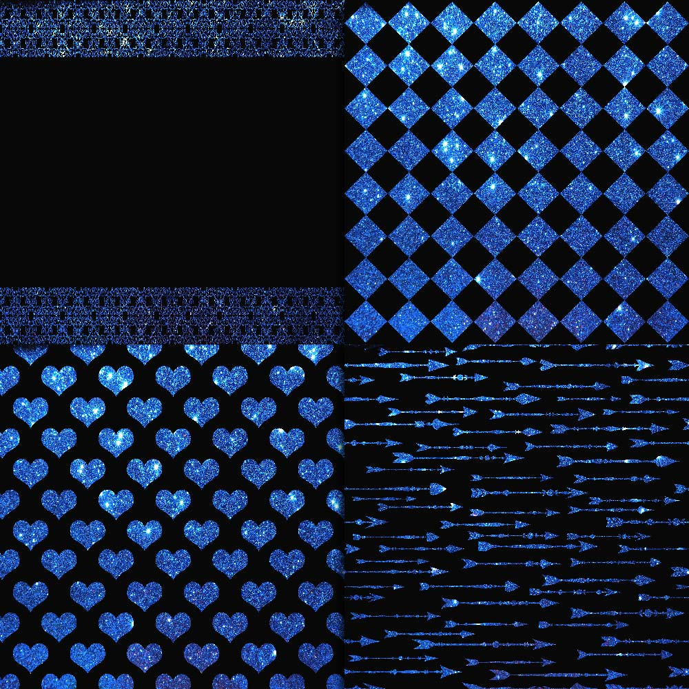 Blue Glitter & Black Digital Paper example image 3