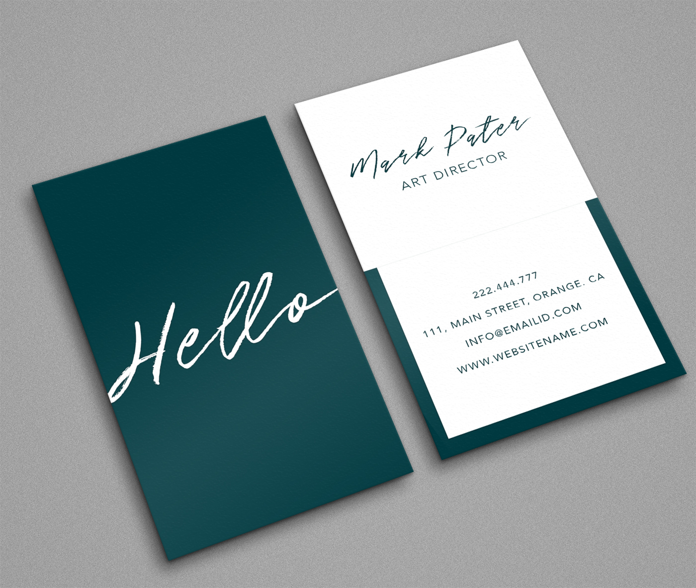 Professional hello script business card example image 1