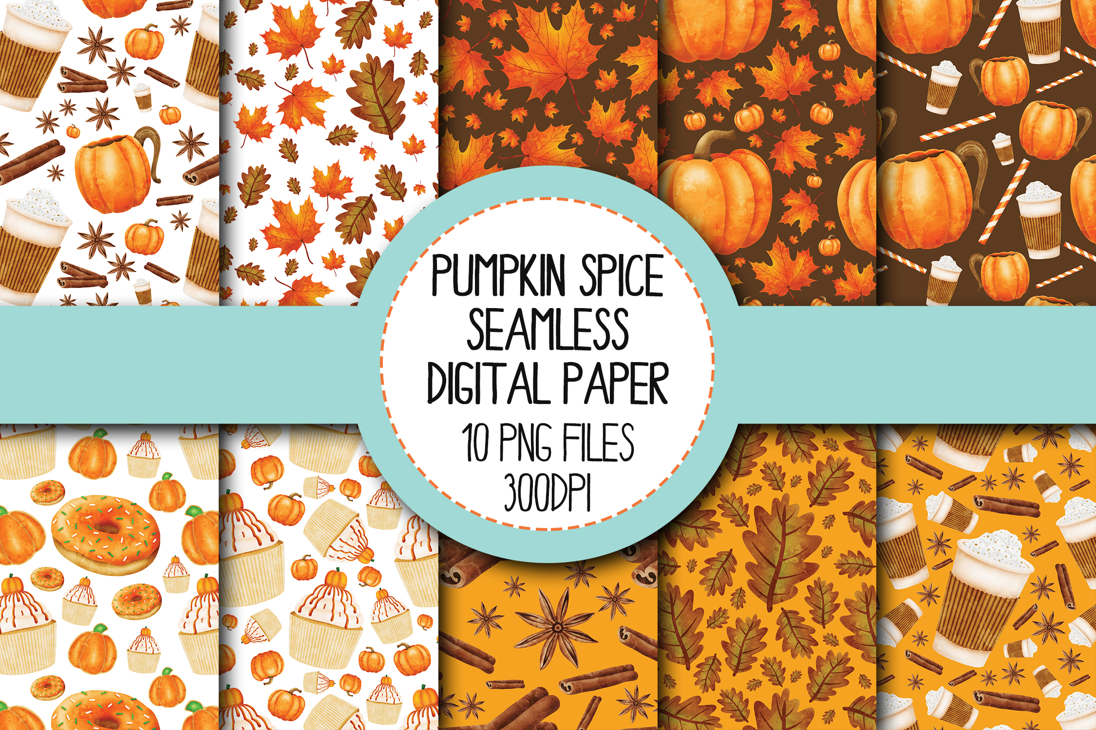 Watercolor Pumpkin Spice Seamless Digital Papers Set 1 example image 1