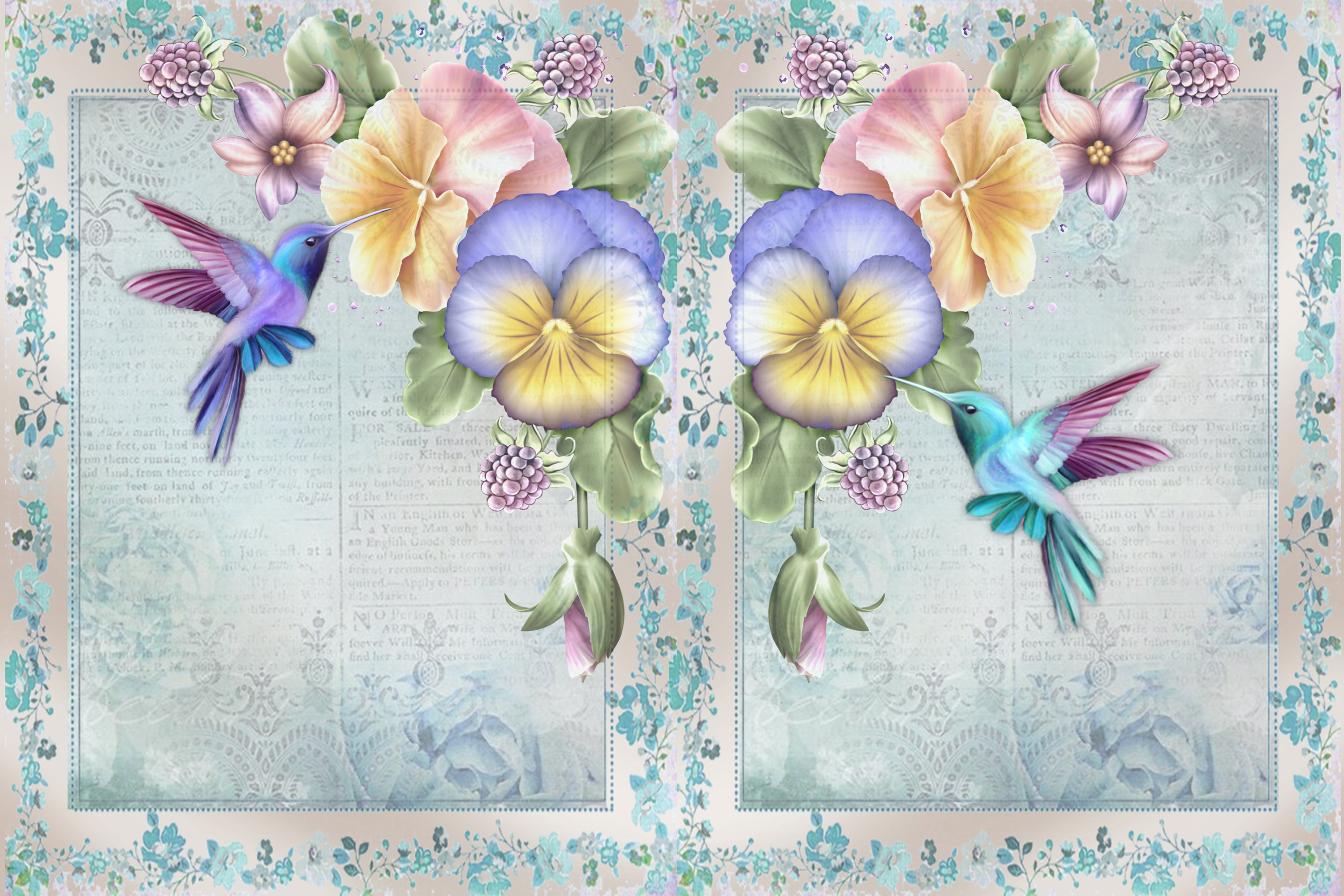 Hummingbird Journaling Kit Backgrounds Commercial Use example image 2