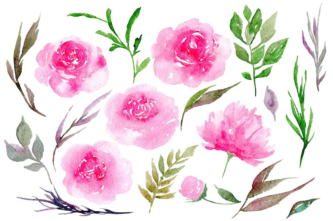 Watercolor pink peonies, 19 png example image 2