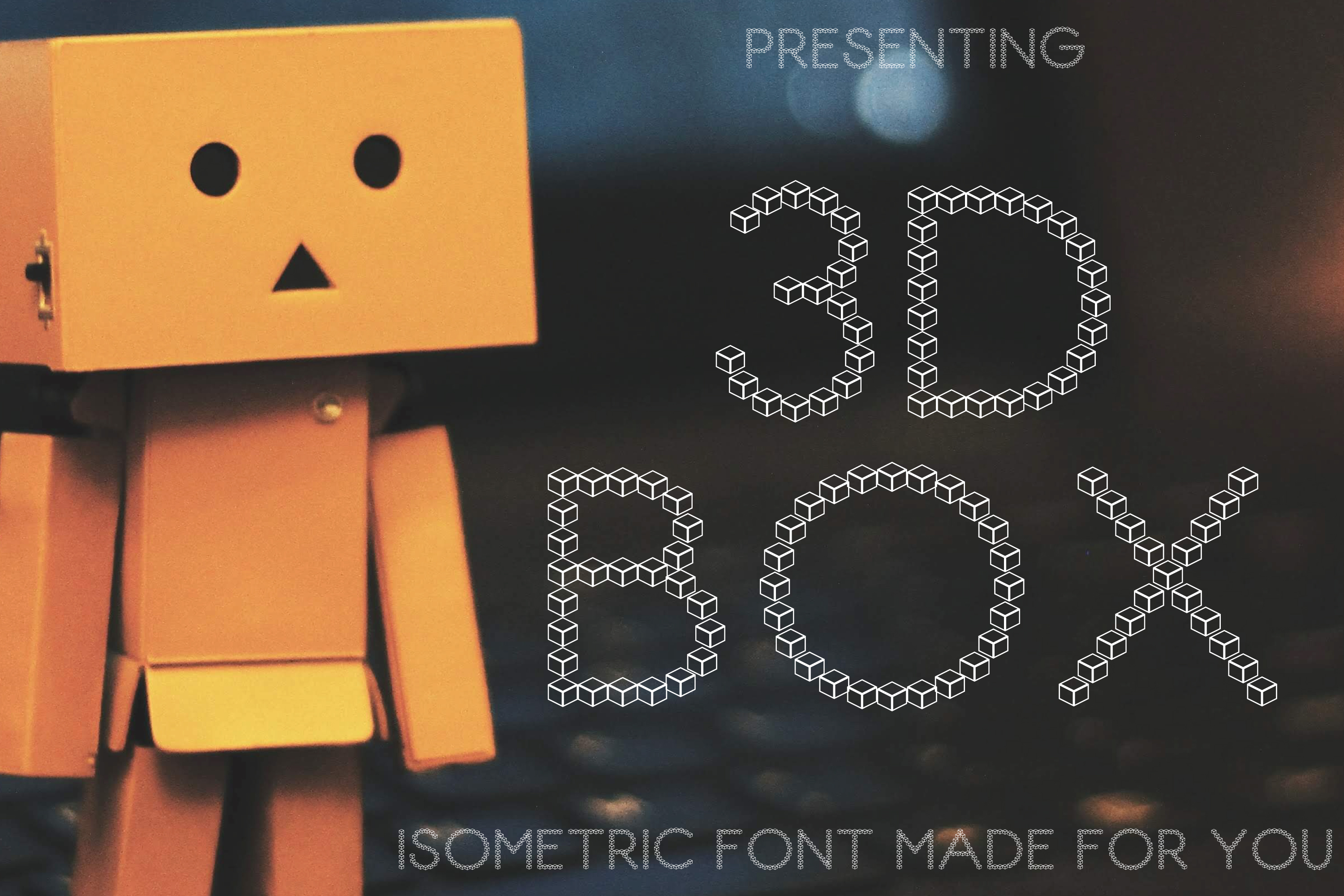 3D Box Font Isometric Style Paper Cut example image 1