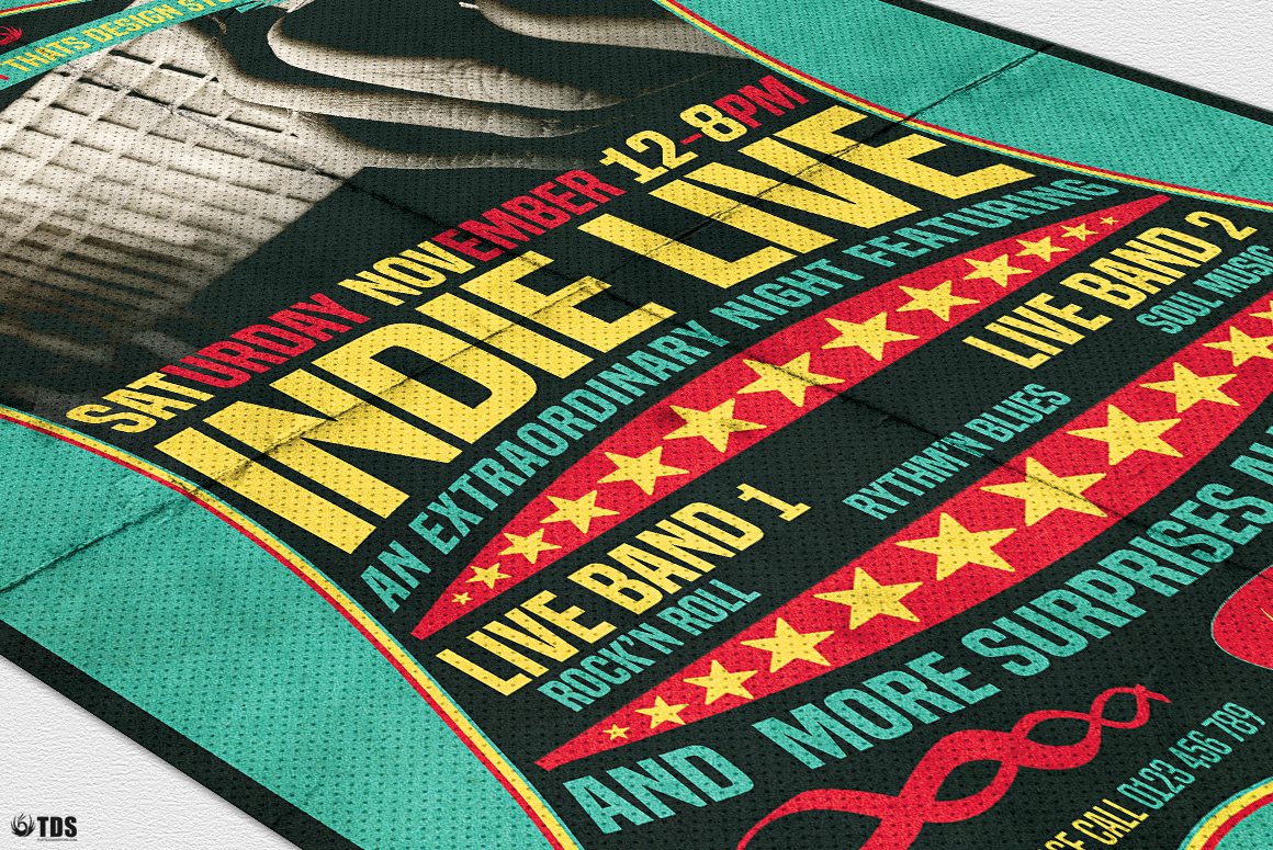 Indie Live Flyer Template example image 6