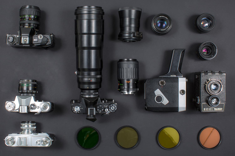 Vintage camera equipment on black background example image 1