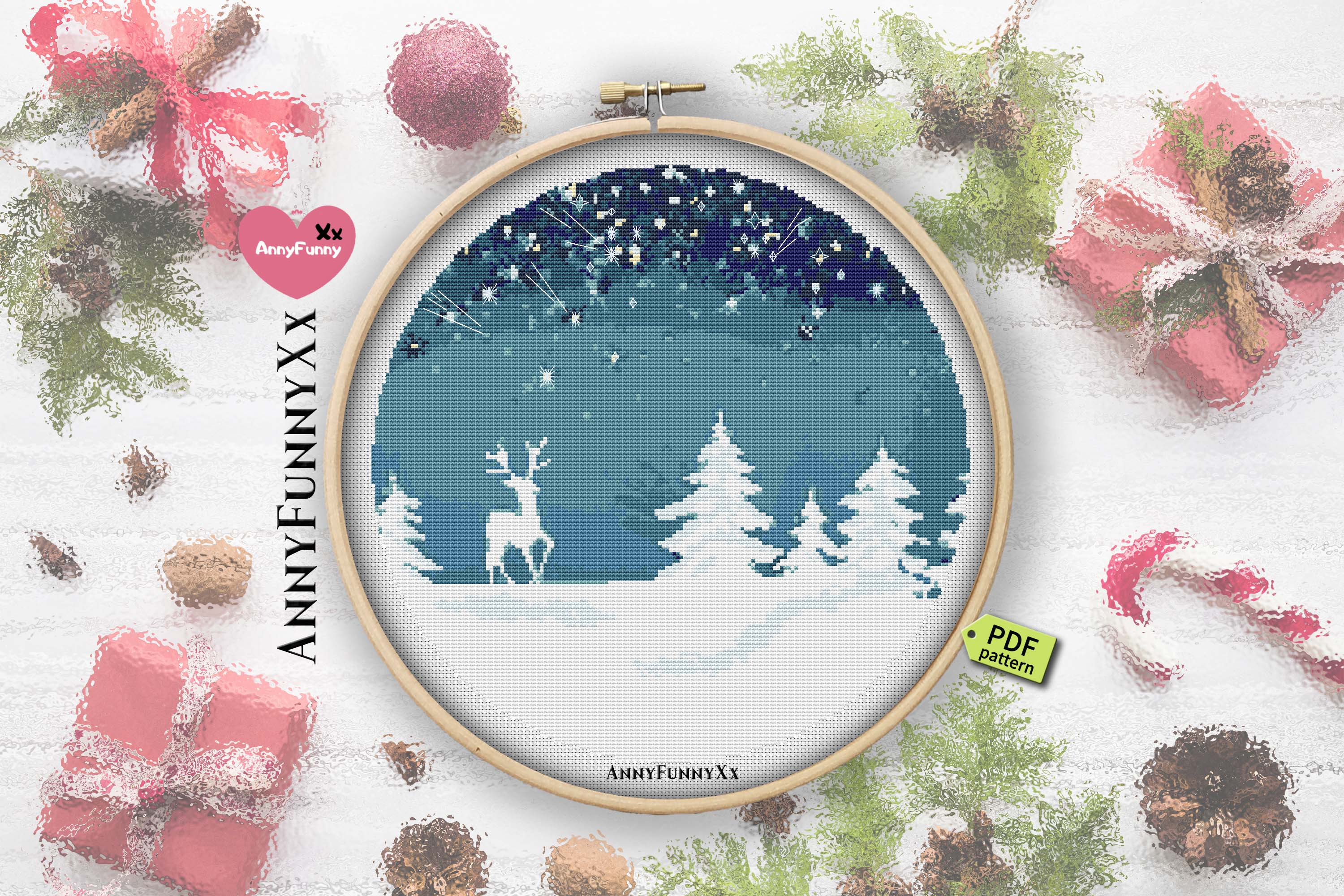Cross stitch pattern christmas vacation Set example image 3