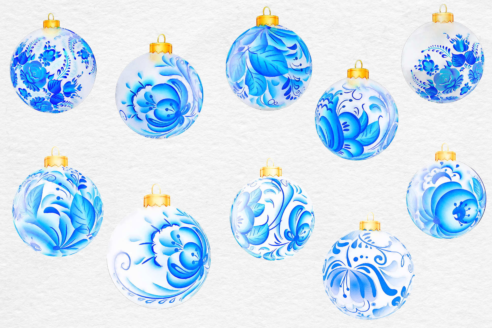 Watercolor Christmas Balls, Blue & White Ornaments example image 2