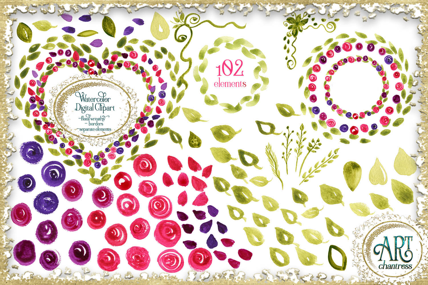 Spring floral fuchsia clipart 102 - PNG digital frames example image 1