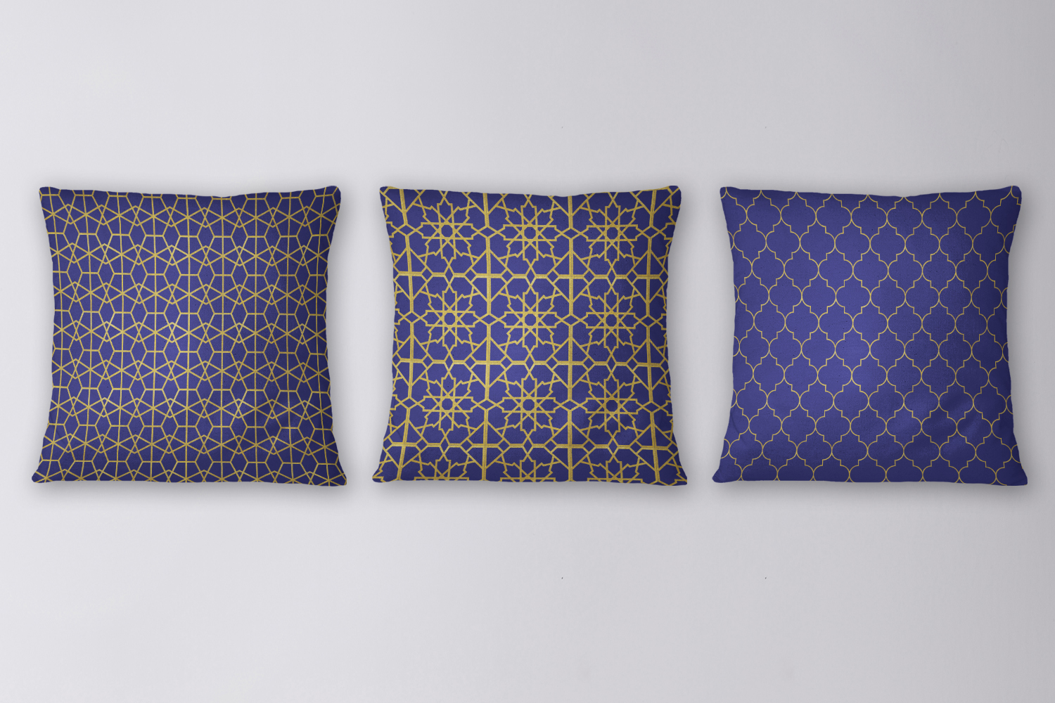 8 Seamless Moroccan Patterns - Gold & Cobalt Blue Set 2 example image 4