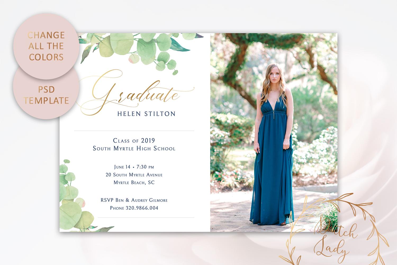 PSD Graduation Announcement Card Template - Design #5 example image 3