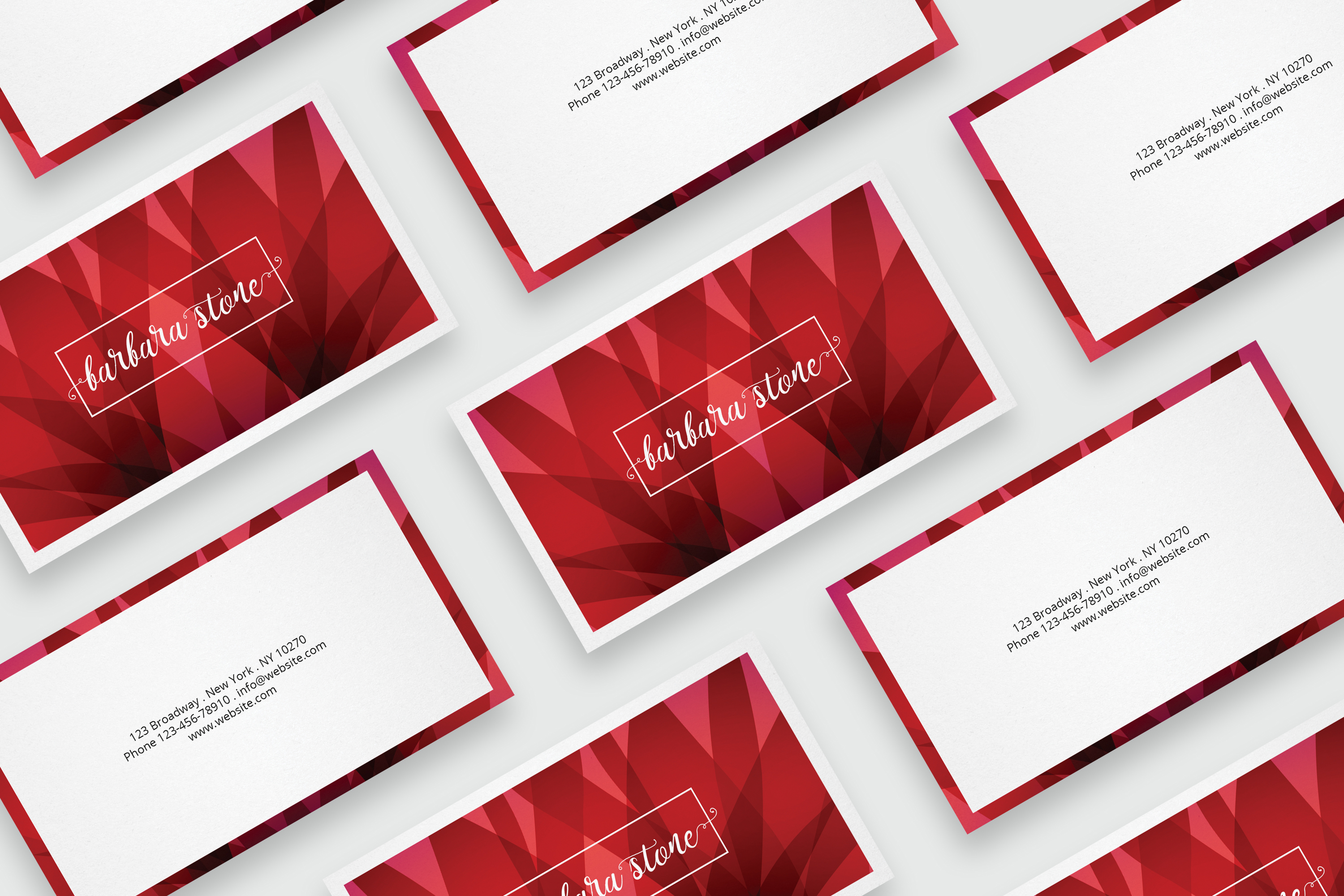 Business card template with abstract red background