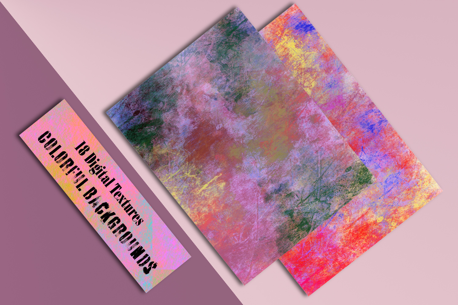 Colorful splash backgrounds. Grungy Digital textured papers example image 6
