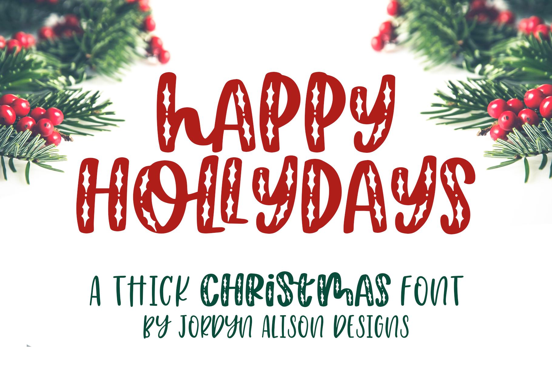Happy Hollydays, A Christmas Mistletoe Font example image 1