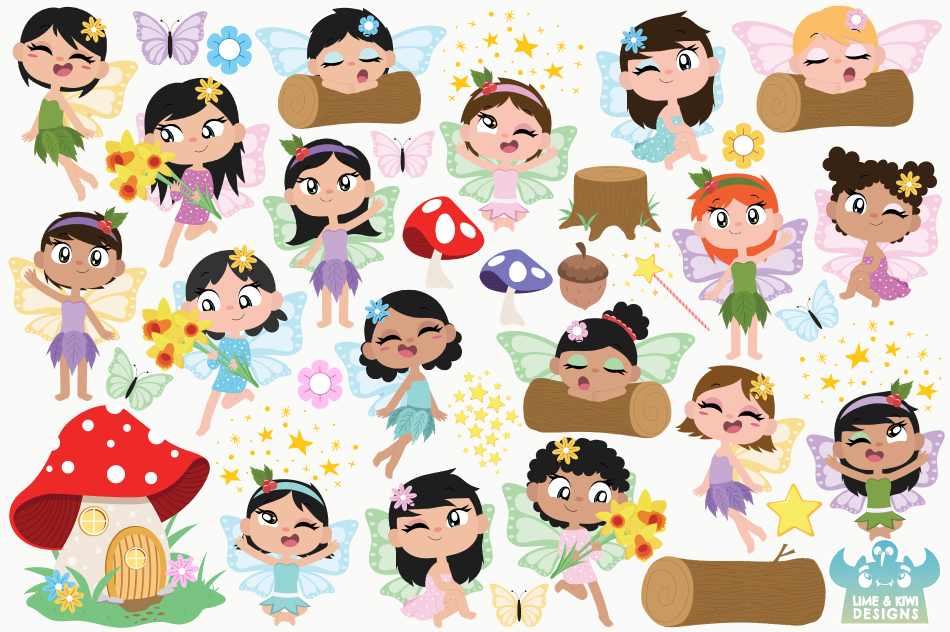 Fairies Clipart, Instant Download Vector Art, Commercial Use example image 2