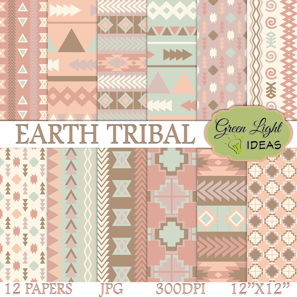 Earth Tribal Digital Papers, Aztec Backgrounds example image 1