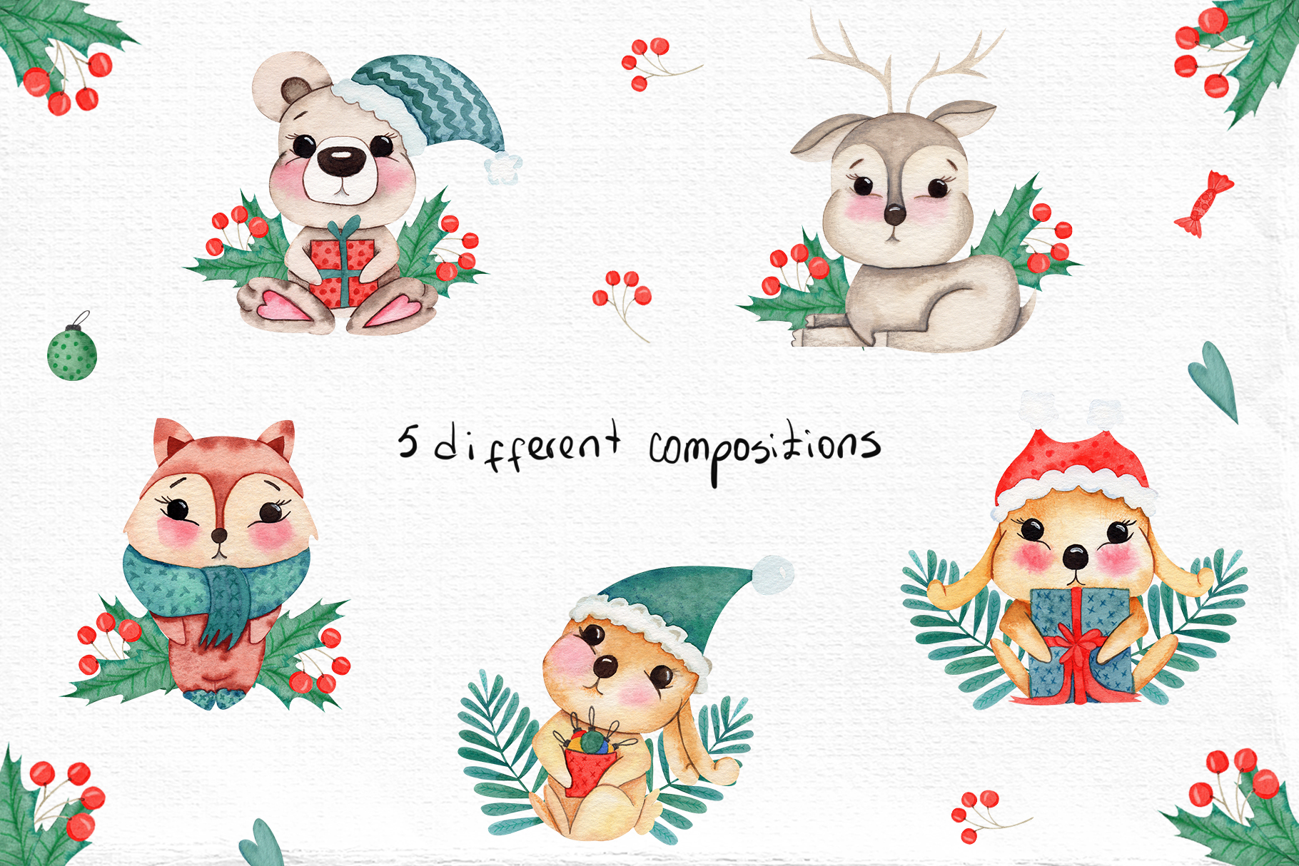 Watercolor Winter Friends example image 5
