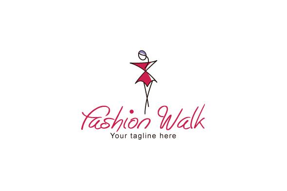 Fashion Walk - Stylish Abstract Feminine Figure Stock Logo Template