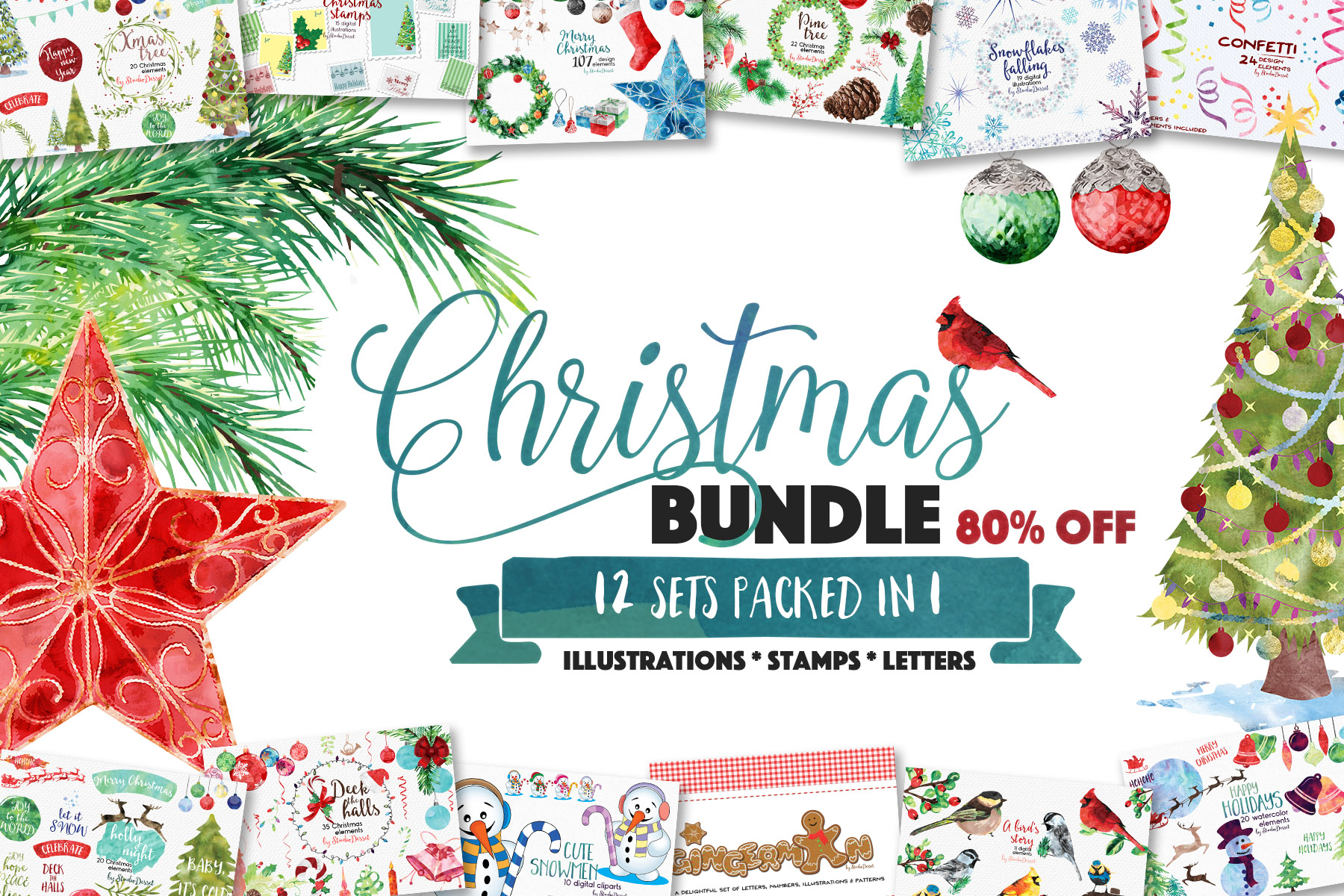 Christmas Bundle of Illustrations example image 1