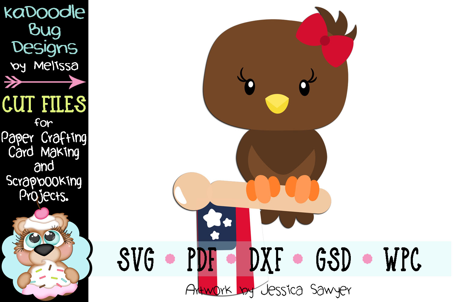 4th of July Flag Eagle Cut File - SVG PDF DXF GSD WPC example image 1