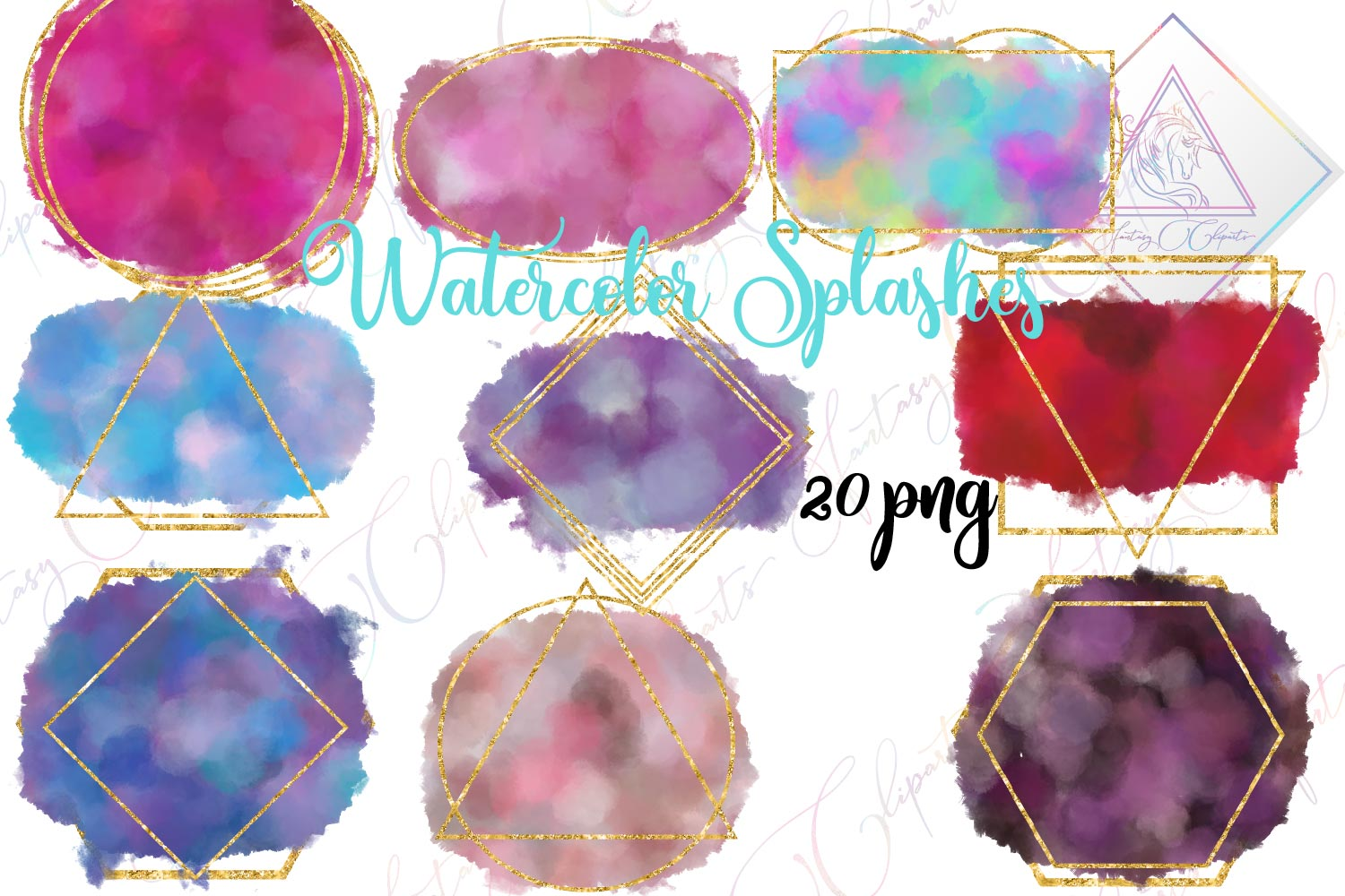 Watercolor Splashes Clipart example image 1