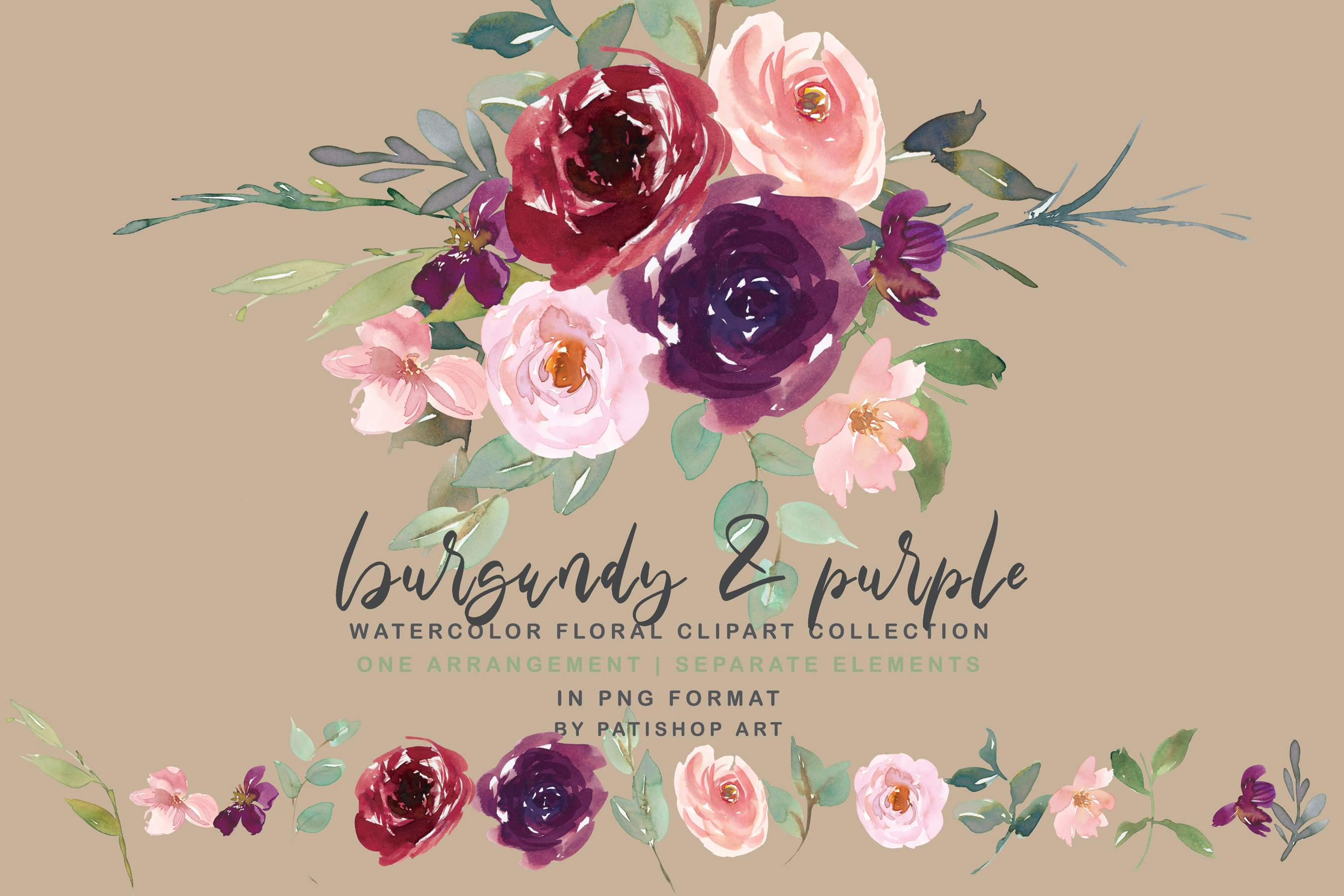 Burgundy Purple and Blush Watercolor Floral Clipart Set example image 1