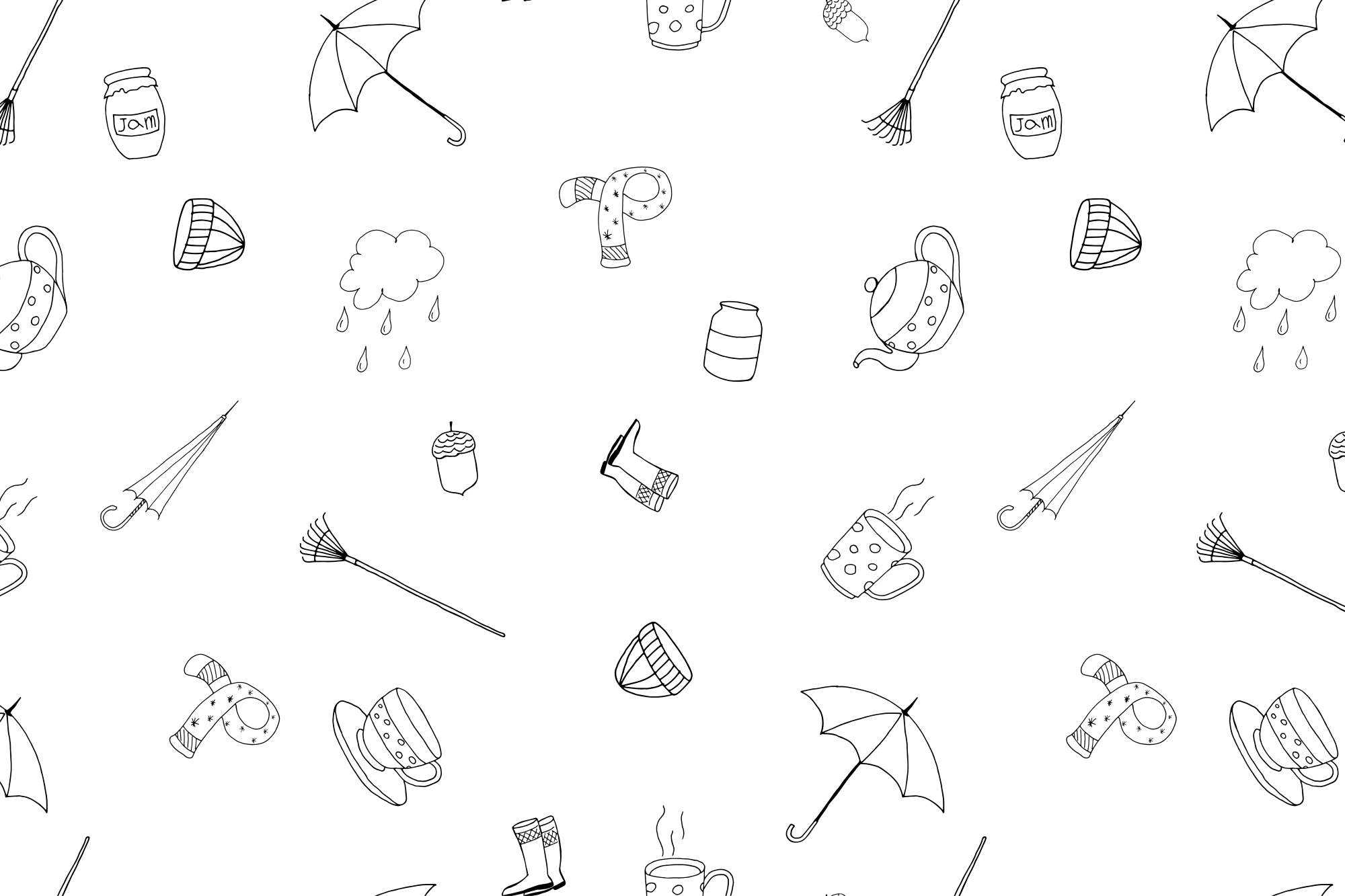 Autumn collection in doodle style. example image 3