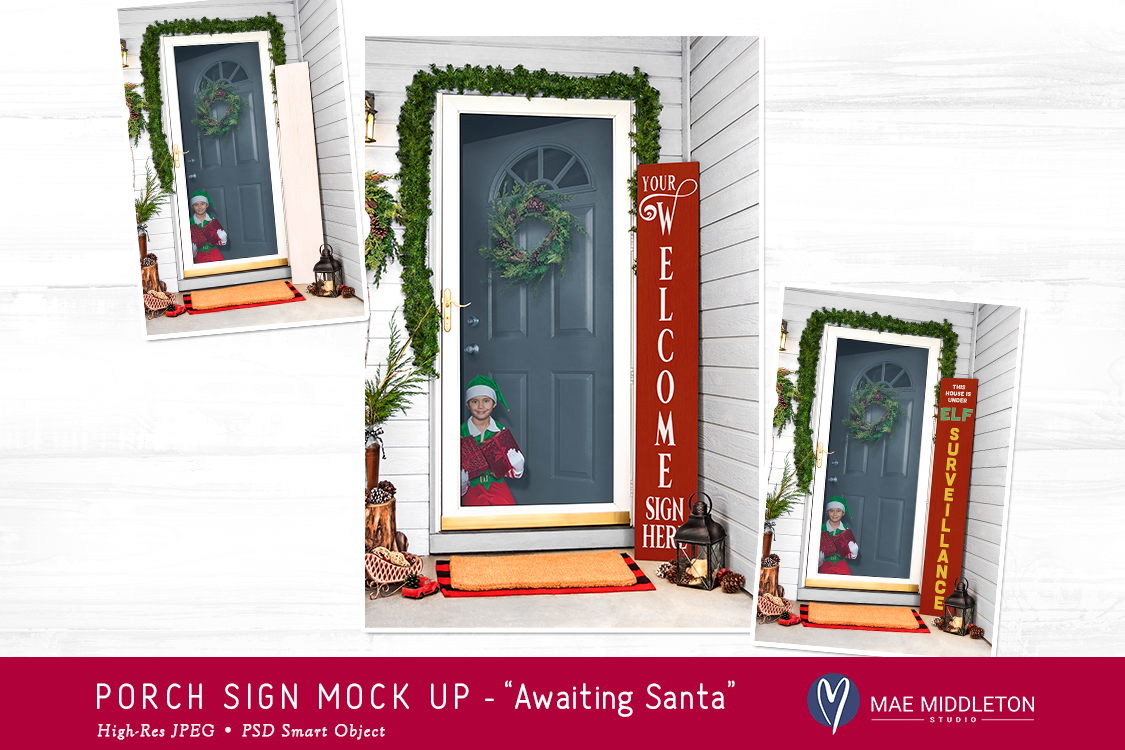 Porch Sign Christmas mock up -