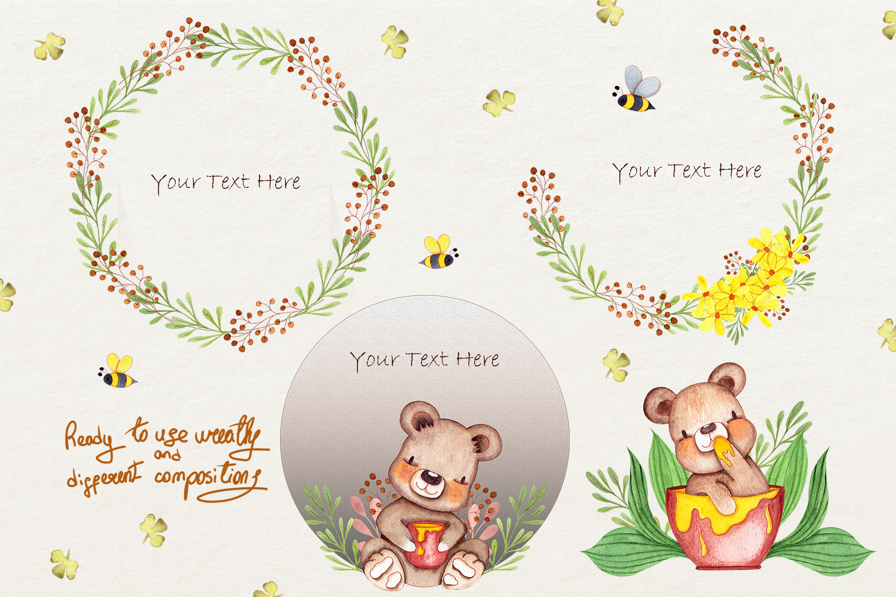 Honey Bears Watercolor Collection example image 5