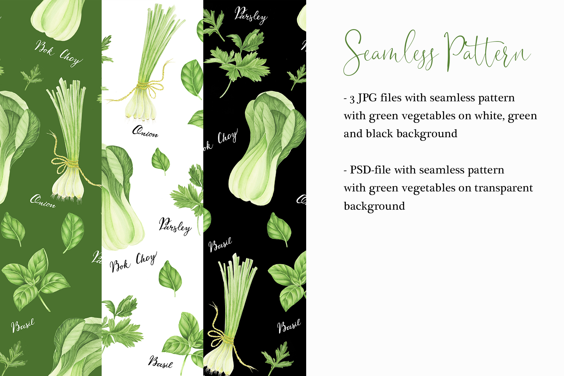 Watercolor green vegetables clipart example image 4