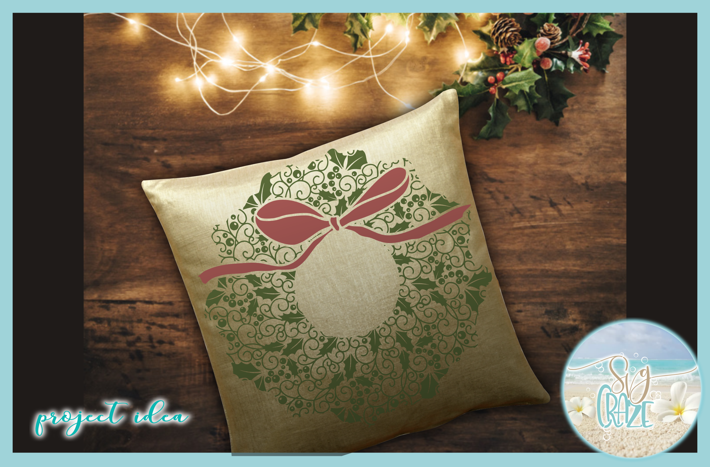 Christmas Wreath with Bow Mandala SVG Dxf Eps Png PDF files example image 2