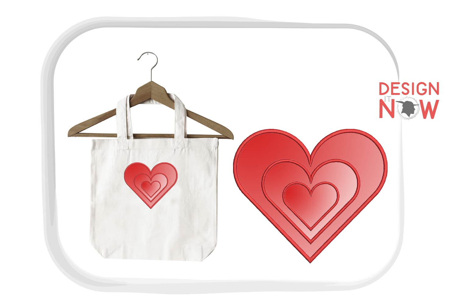 Heart Applique Embroidery Design, Heart Embroidery Pattern example image 3